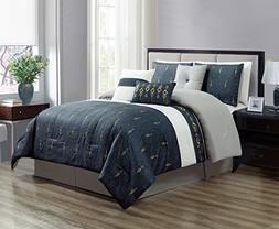 7-Piece Gold Embroidered Gray White Navy Striped Pleated Com
