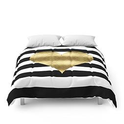 Society6 Gold Heart Black And White Stripe Comforters Queen: