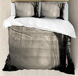 Gothic Decor Queen Size Duvet Cover Set by Ambesonne, Path o