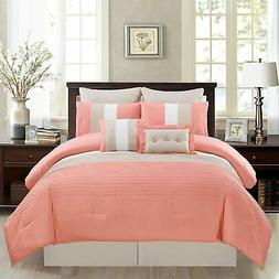 Grand Linen 8 Piece Queen Size Coral Pink/White/Grey Pin Tuc