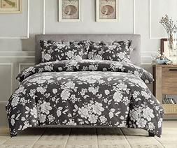 Wake In Cloud - Gray Floral Comforter Set Queen, 3-Piece Whi