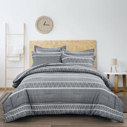 gray striped queen king size bed comforter