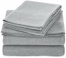 AmazonBasics Heather Jersey Sheet Set - Queen, Light Gray, M