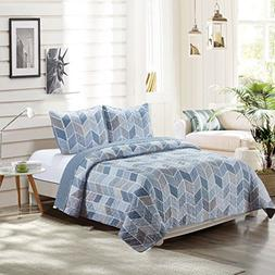 SLPR Heather 3-Piece Lightweight Printed Quilt Set  | with 2