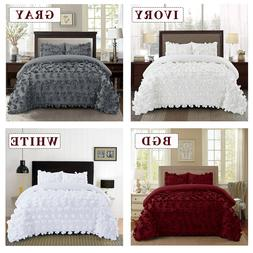 HIG 3 Piece Comforter Set Hundred Butterfly Flower Applique