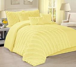 7 Piece Hillary Bed in a Bag Ruffled Comforter Sets-Queen Ki