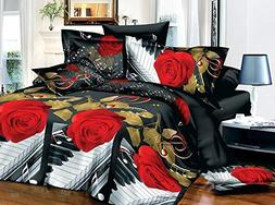 EsyDream Home Bedding 3D Rose Music Noted,King Size Music No