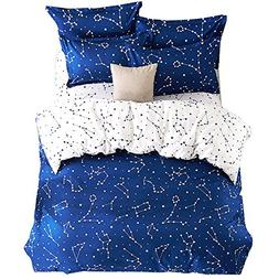 EsyDream Home Bedding,Blue Color constellation 4PC Duvet Cov