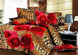 EsyDream Home King Size Leopard Print Rose Bedding Sheet,Que