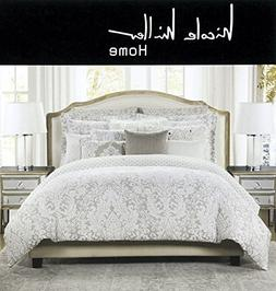Nicole Miller Home Full Queen Duvet Cover and Shams Set, Gra