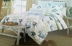 Nicole Miller Home 3 pc Full Queen Quilt Set Bedding Beach C