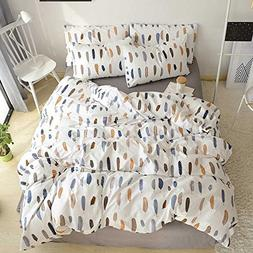 HIGHBUY 3 Piece Bedding Duvet Cover for Kids Girls Feather P