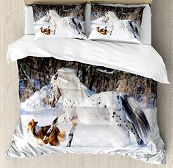 Ambesonne Horses Duvet Cover Set Queen Size, Legendary Appal