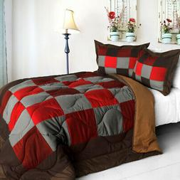 Quilted Patchwork Down Alternative Comforter Set (Full/Quee