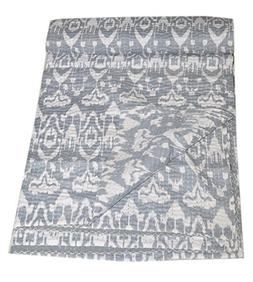 Tribal Asian Textiles Indian Cotton Ikat kantha Quilt in Gre