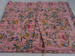 Tribal Asian Textiles Indian Pink Paradise Kantha Quilt Reve