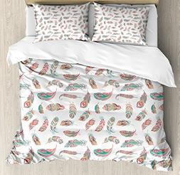Ambesonne Indie Duvet Cover Set Queen Size, Ethnic Feathers