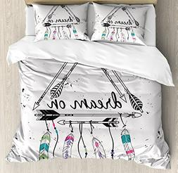 Ambesonne Indie Duvet Cover Set Queen Size, Boho Style Triba