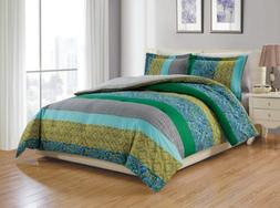 Chezmoi Collection Nova 6-Piece Floral Retro Comforter Set with Fitted Sheet
