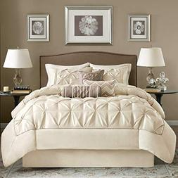 OSD 7pc Ivory Cream Puckered Comforter Queen Set, White Pint