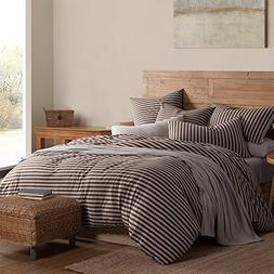 PURE ERA Striped Duvet Cover Set Cotton Jersey Knit Ultra So