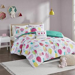 MS 5pc Kids Pink Yellow Teal Fresh Fruit Themed Comforter Fu