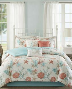 King Comforter Set For Women Beach Bed Cover Coral Teal Star