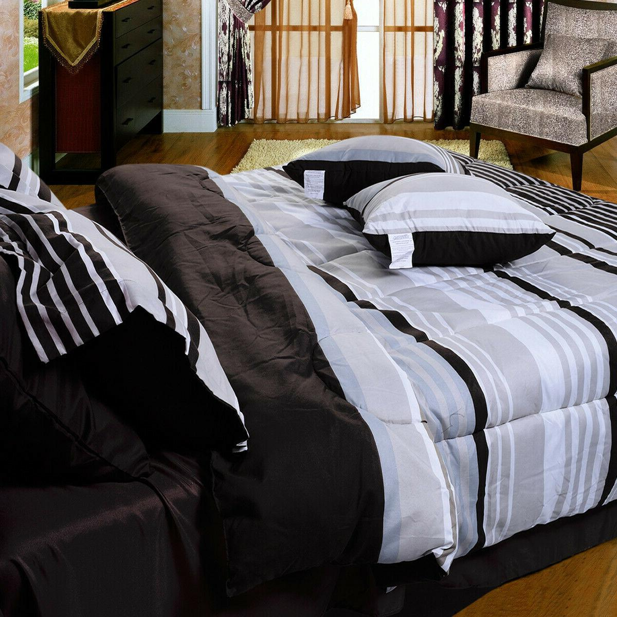 10 Piece Comforter Set Microfiber Striped & Queen Size