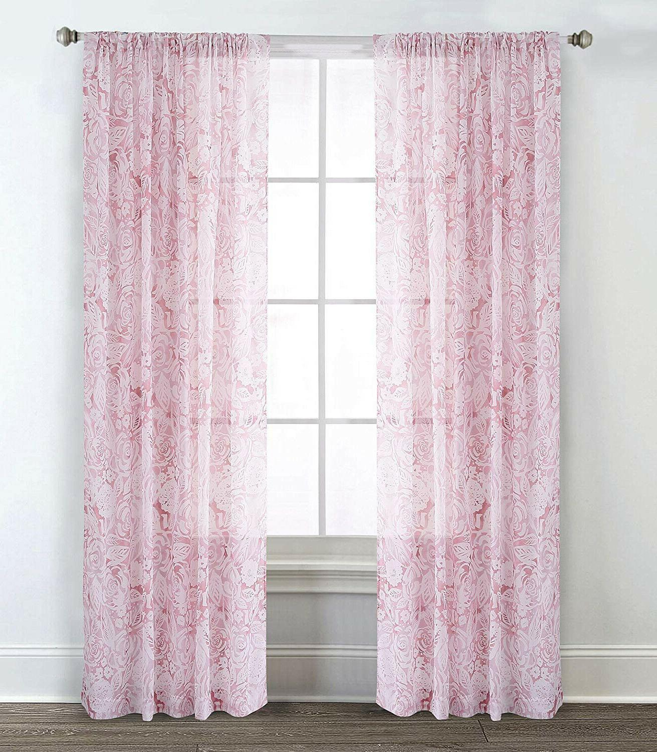 100% Cotton Pink 4 pcs Queen Comforter Window Sheer
