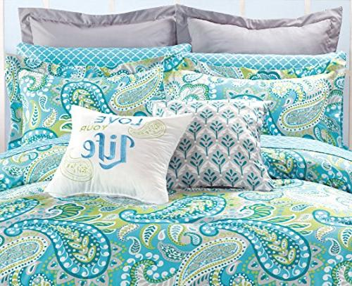 12 Modern Turquoise Grey Green QUEEN Set Pillow Euro and accent pillows