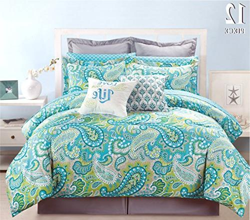 12 Piece Modern Bedding Turquoise Blue, Grey and Green Paisl