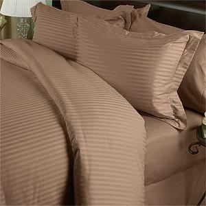 Egyptian Bedding 1200 Thread Count Goose Down Comforter PC Bed in Bag, Taupe Damask