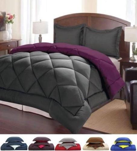 3 Piece Down Alternative Reversible Comforter and Pillow Sha