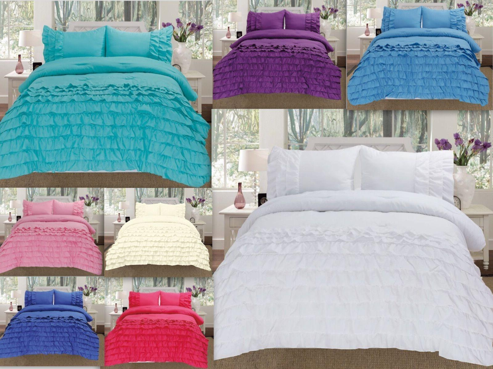 3 piece pleated ruffled soft comforter set