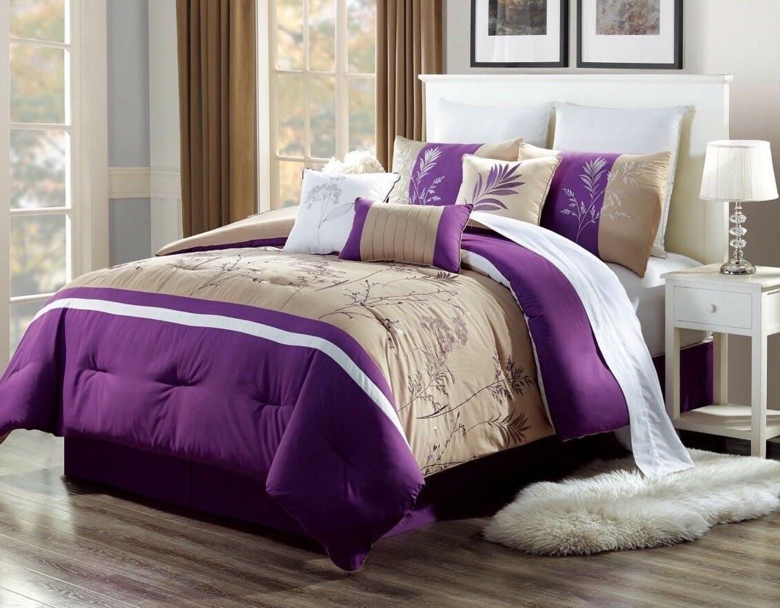 3PC ALEX #13 TAUPE PURPLE TREES Embroidered DUVET COMFORTER