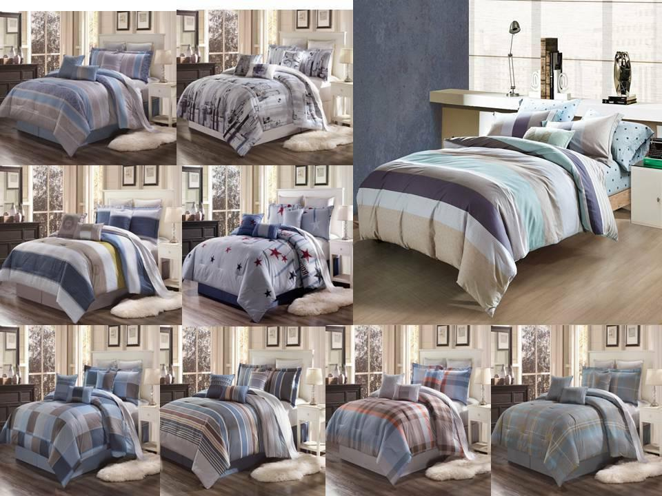 3PC CONTEMPORARY DUVET COVER SET FOR COMFORTER BED STRIPED A