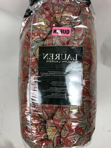 Ralph 3PC Comforter Red Paisley Floral Pattern