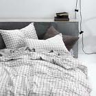 3pcs grid comforter set queen 100 percent