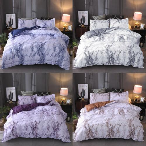 Marble Comforter Cover Pillowcase Bedding 3Pcs Set Quilt Cov