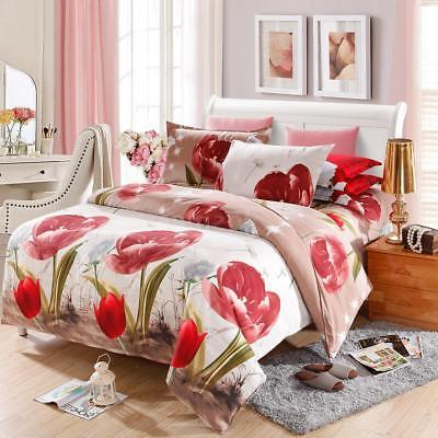 4Pcs Bedding Set Comforter Duvet Quilt Cover w/2 Pillowcase