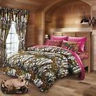 7 PC WHITE WOODS CAMO COMFORTER AND HOT PINK SHEET SET QUEEN
