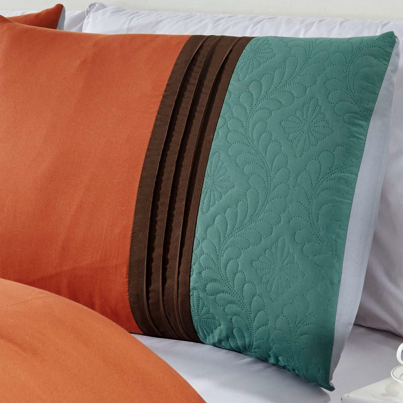 7 Comforter Set Embossed Pattern Pleated - Teal /Brown