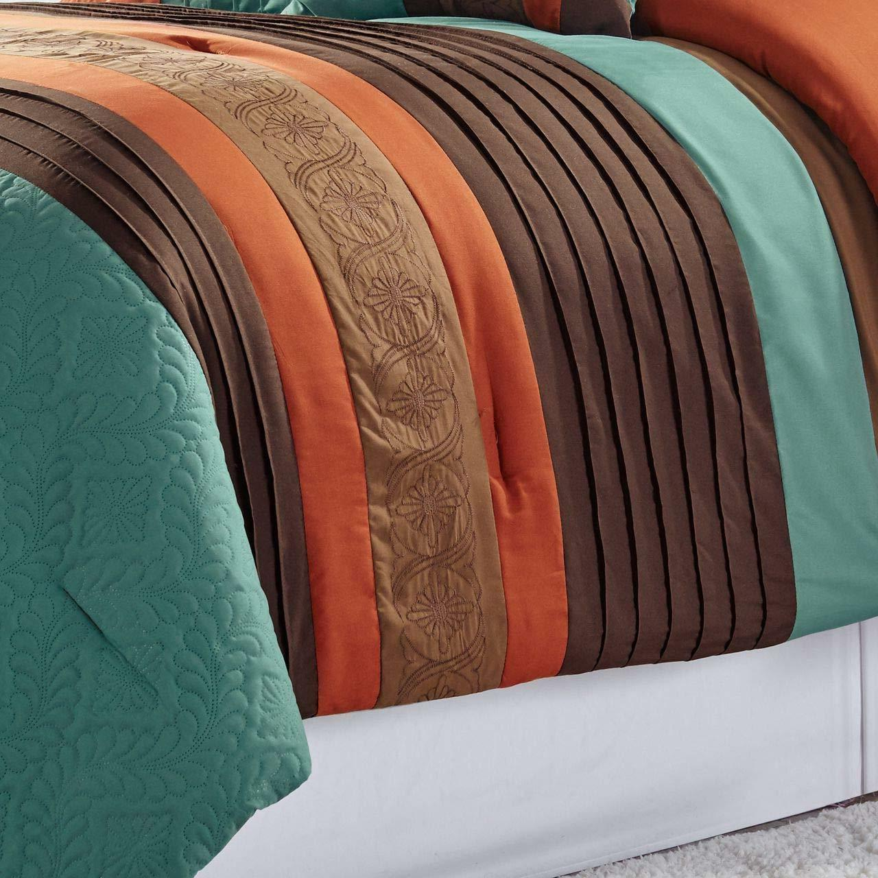 7 Pc Set Embossed Pleated - Teal