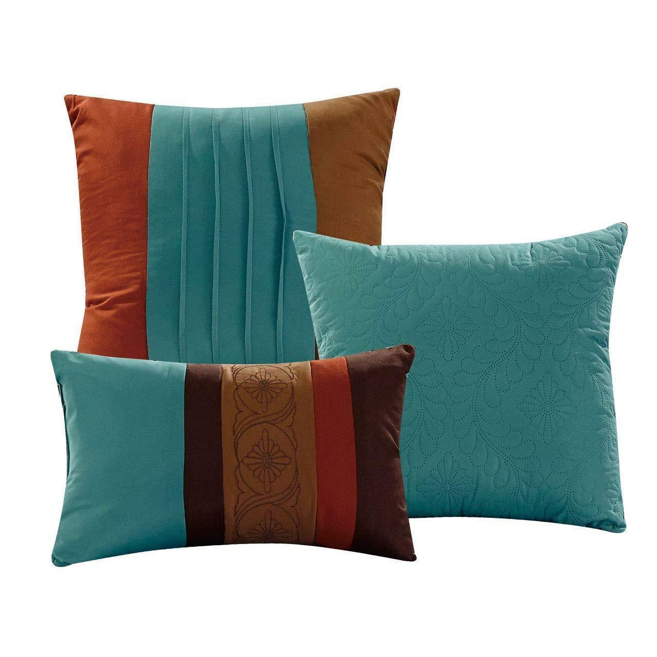 7 Pc Comforter Embossed Pleated - Burnt Teal