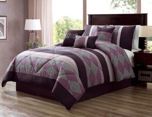 7 PC Purple Plum Comforter Set King Or Queen Size AT Linen P