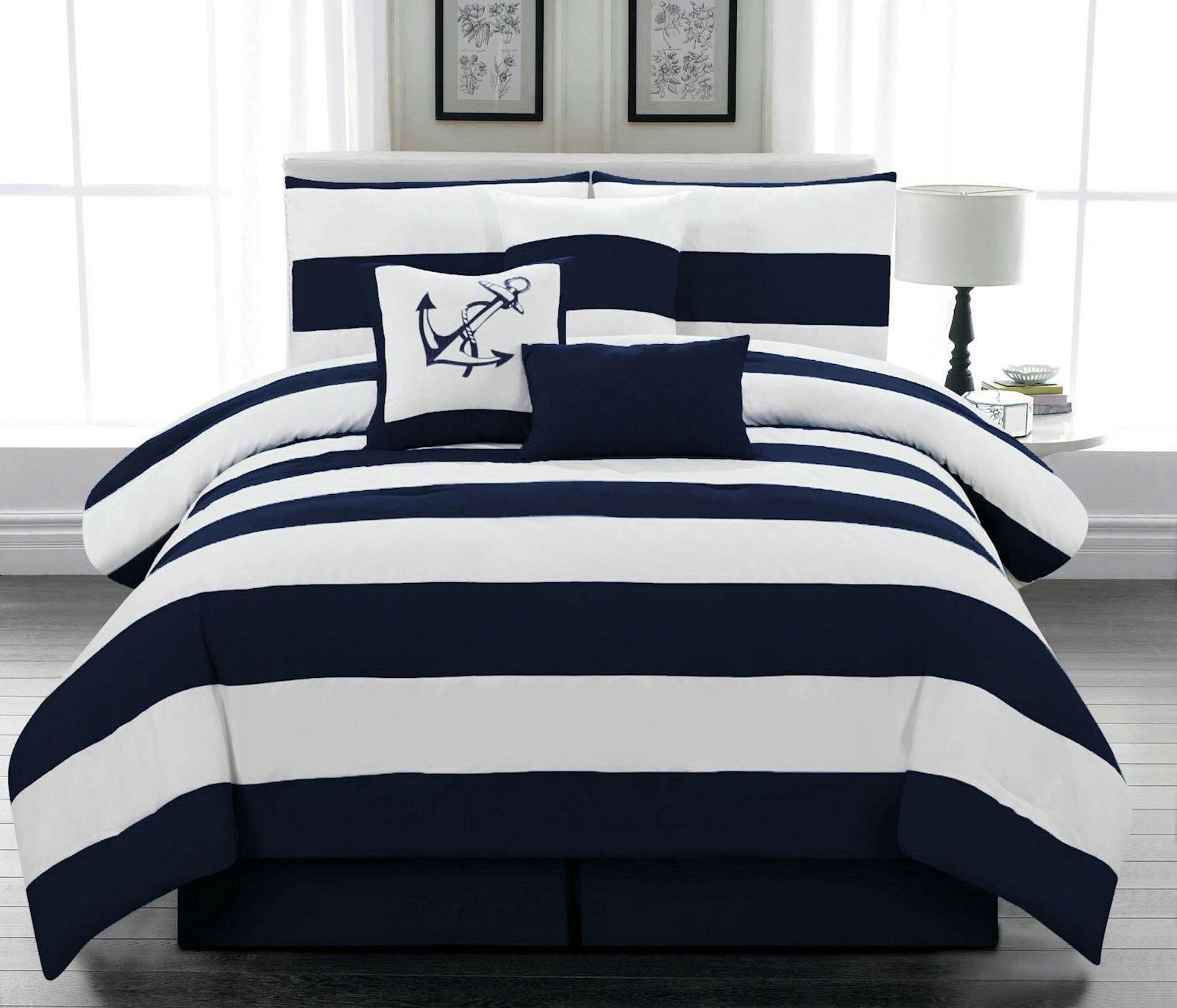 7 pcs Microfiber Nautical Comforter set Navy Blue Striped Fu