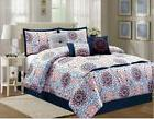 7 piece comforter set embroidered detail polyester