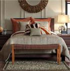 7 Piece Comforter Set Full Queen Brown Embroidered Polyester