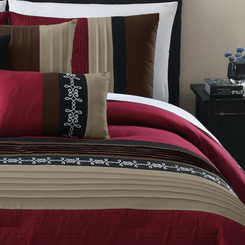 Chezmoi Collection 7-Piece Comforter Set Embroidery
