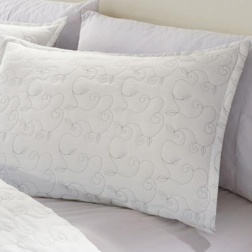 Chezmoi White Chic Floral Embroidered Comforter Set